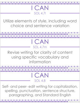 Writing I CAN 4th Grade Objectives