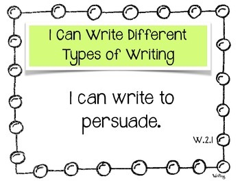 """Writing """"I Can"""" Common Core Statements 2nd Grade"""