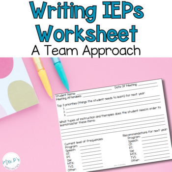 Writing IEP Goals: A Team Approach