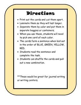 Writing Idea Scramble Cards