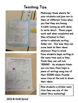 Writing Ideas Bingo An Idea Trait Activity
