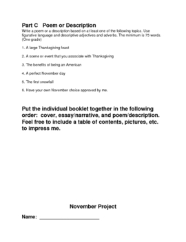 Writing Ideas for November