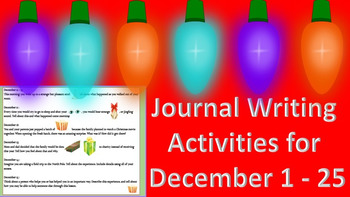 Writing Ideas for the month of December 1 - 25