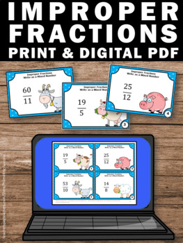 Improper Fractions to Mixed Numbers Game, 4th Grade Math Review Task Cards