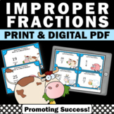 Improper Fractions and Mixed Numbers Review Task Cards, 4th Grade Math Games