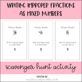 Writing Improper Fractions as Mixed Numbers Scavenger Hunt