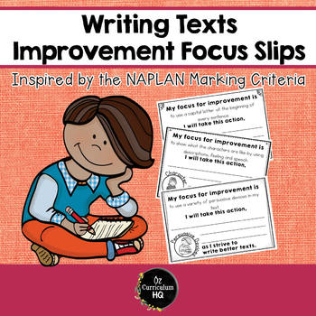Writing Improvement Focus Slips {NAPLAN Inspired}