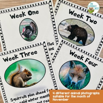 November Centers Weekly Writing Prompts for November ~Animal Theme~