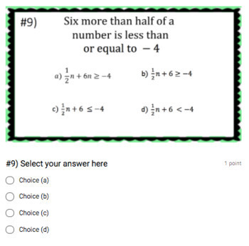 Writing Inequalities - Perfect for Google Classroom!