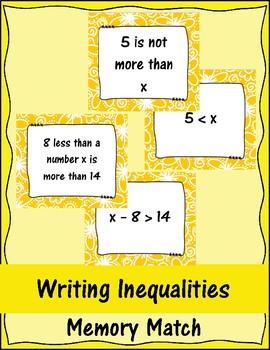 Writing Inequalities Memory Match