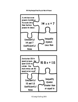 Writing Inequalities Puzzle Match