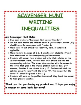 Writing Inequalities: Scavenger Hunt