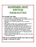 Writing Inequalities: Scavenger Hunt
