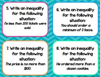 Writing Inequalities Task Cards