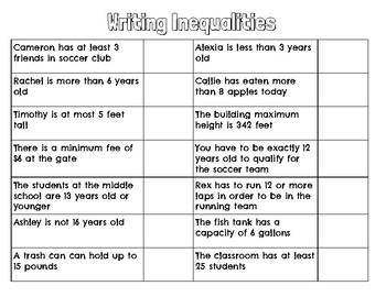 Writing Inequalities practice