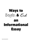Writing Informational Introductions & Conclusions