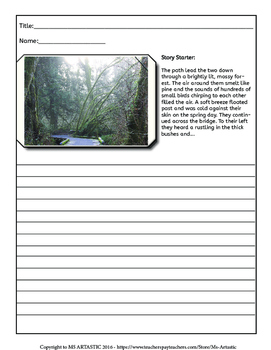 Forest Writing Activity, Picture Prompts and Story Starters