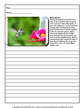Spring Writing Activity, Picture Prompts and Story Starters