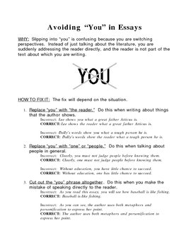 "Writing Instruction--Avoiding the word ""you"""