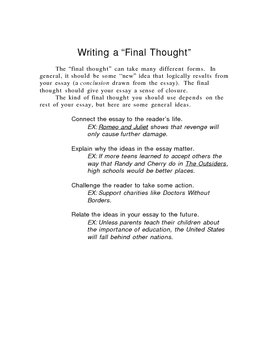 Writing Instruction--writing conclusions