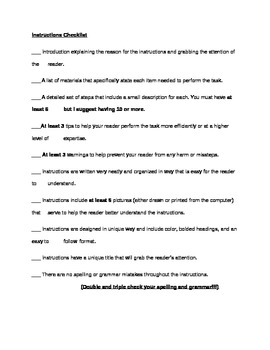 Writing Instructions Checklist