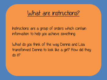 Writing Instructions Complete Lesson  on The Boy in the Dress