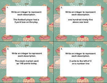 Writing Integers to Represent a Given Description-40 Math Task Cards CCSS