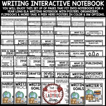 Writing Interactive Notebook: Narrative, Expository Writing, Grammar Posters