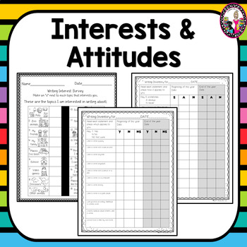 Writing Interest Inventories & Surveys! K-5! Spanish Versions too!