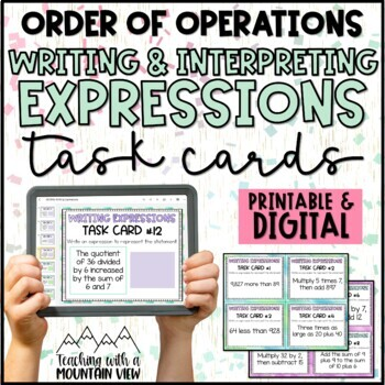Writing & Interpreting Expressions Task Cards (NO Variables Common Core 5.OA.2)