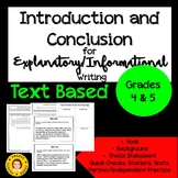 Introduction and Conclusion in Explanatory/Informational Essays - TEXT BASED