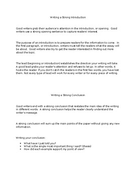 Writing Introductions/A TRTW Lesson