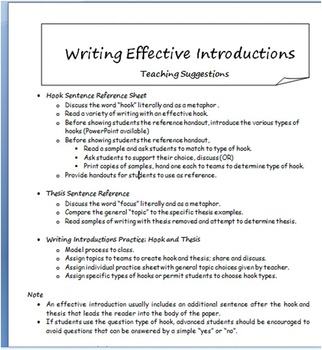 Writing Introductions: Hook and Thesis