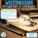 Writing Leads & Writing Hooks - Several Methods Introduction Paragraph Activity