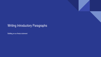 Writing Introductory Paragraphs