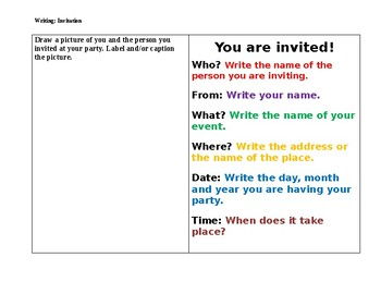 Writing Invitations for Kindergarten