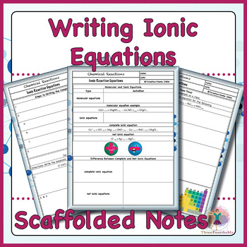 Writing Ionic Equations Scaffolded Notes