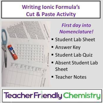 Chemistry Activity: Writing Ionic Formulas