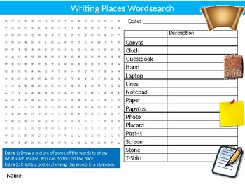 Writing Items Wordsearch Puzzle Sheet Keywords English Language Literature