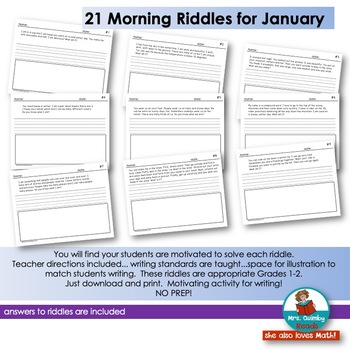 Writing -January Riddles- Literacy- Grades 1-2