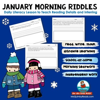 Writing Prompts -January Riddles- Literacy- Morning Seat Work