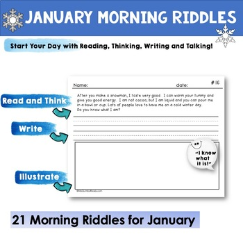 January Writing Prompts | Riddles | Literacy | Morning Seat Work
