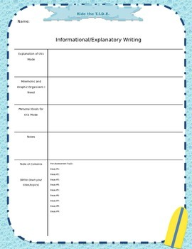 Writing Journal Cover Page:  Informational/Explanatory Writing TIDE for SRSD