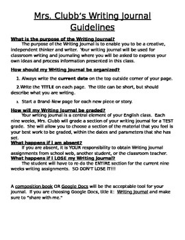 Writing Journal Guidelines
