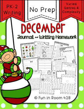 Writing Journal / Homework ~ December {No Prep}