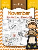 Writing Journal / Homework ~ November {No Prep}