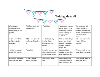 Writing Journal Prompt Menus