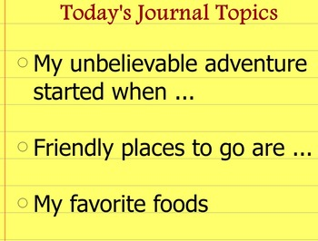 Writing Journal Prompts Set 1