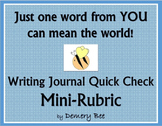 Writing Journal - Quick Check Mini-Rubric