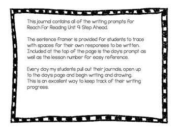 Writing Journal: Reach For Reading Kindergarten Unit 9: Step Ahead